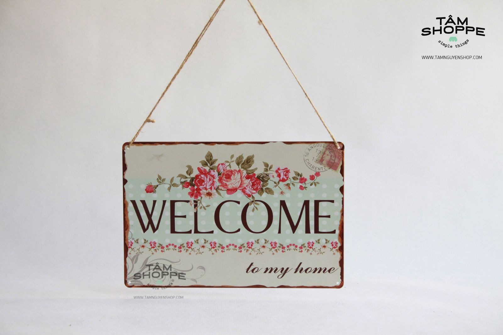 Bảng treo cửa WELCOME bằng thiếc Vintage